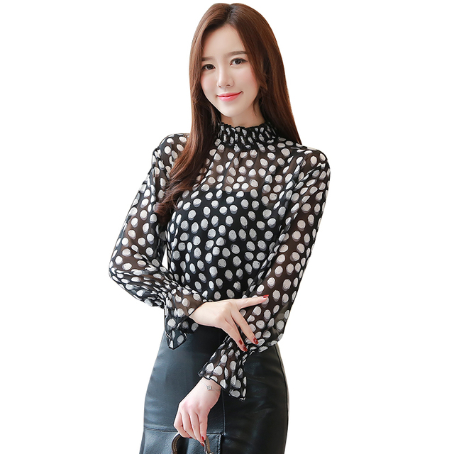 c618f4ff78d 2019 New Spring Women Shirts Flare Full Sleeve Polka Dot Stand Neck Chiffon  Western Style Blouse Shirt White 5588