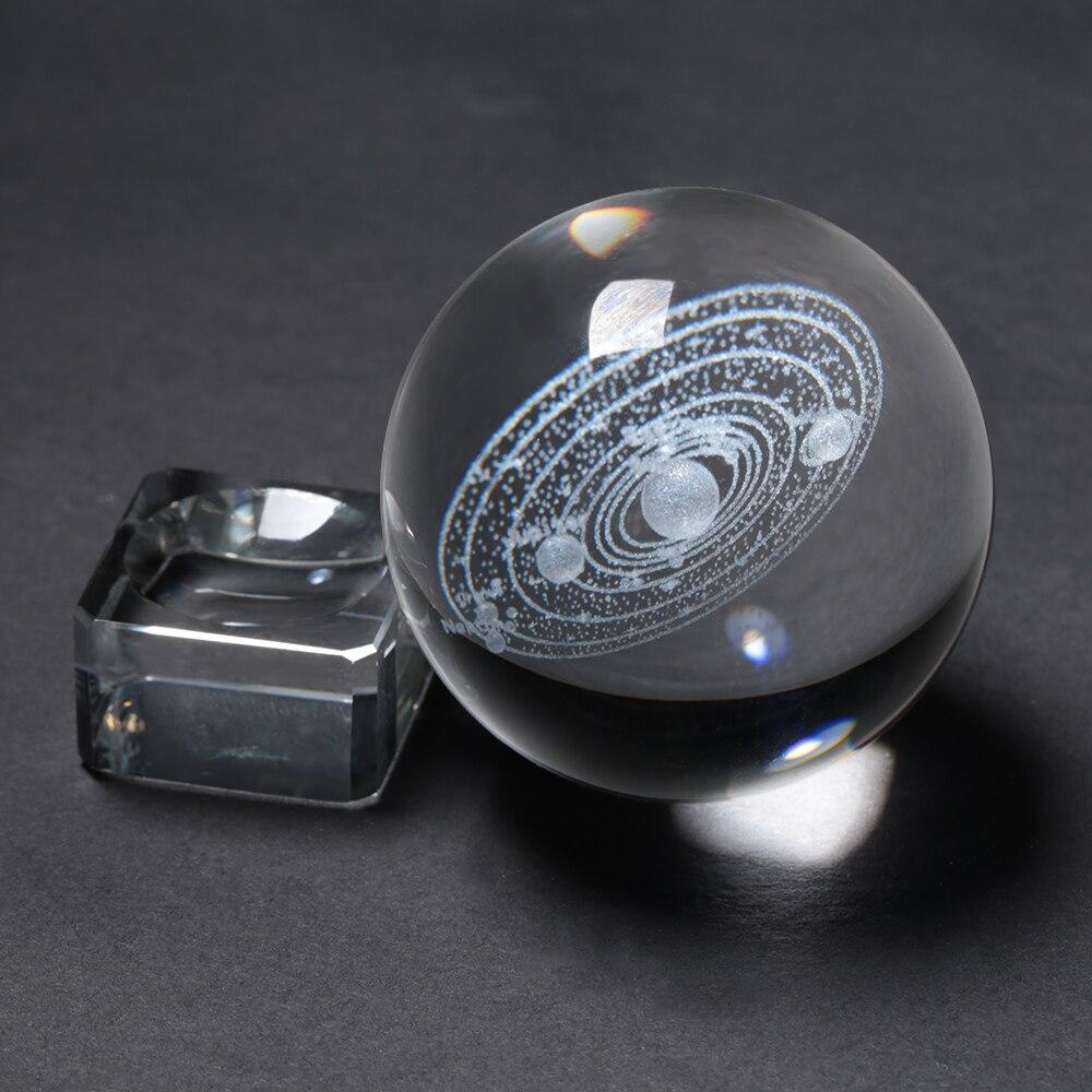 Système solaire gravé au Laser boule de cristal 3D planètes Miniatures modèle 6 CM Globe Galaxy Miniatures 3D boule de verre de Quartz décor à la maison
