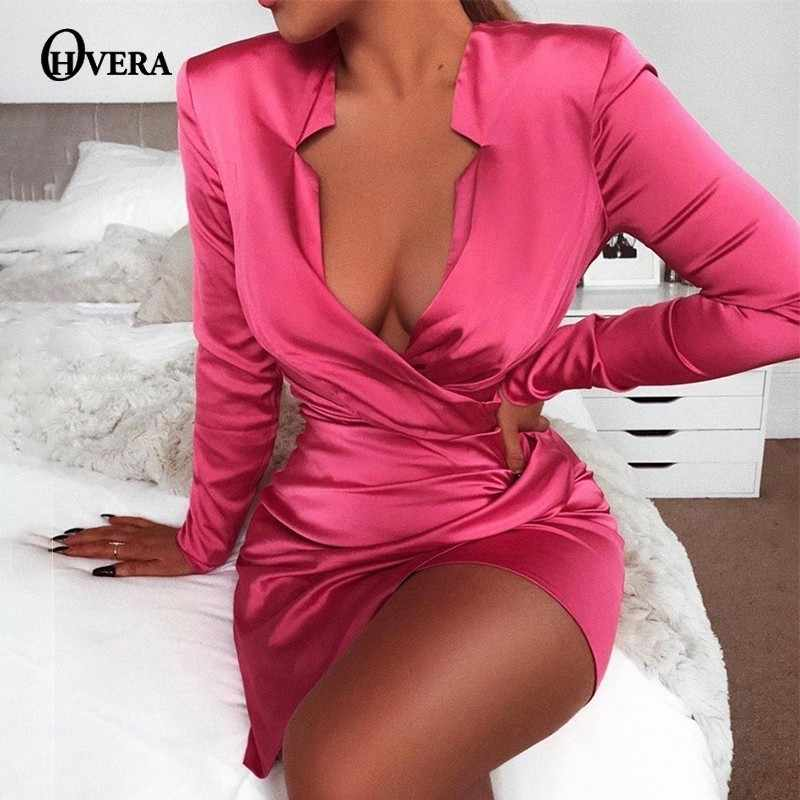 Ohvera Satin Rose Red Wrap Bandage Jurk Vrouwen Bodycon Herfst Jurk 2019 Vestidos Mini Sexy Party Jurken Elegant