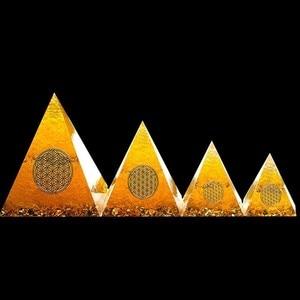 AURA REIKI Orgonite Pyramid Natural Citrine Energy Generator Pyramid Transit Gathering Fortune Helping Business Decoration Gift