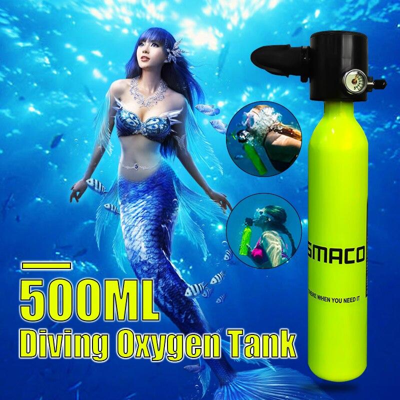 0.5L 34 cm équipement de plongée Potable Mini bouteille de plongée sous-marine réservoir d'oxygène de plongée sous-marine