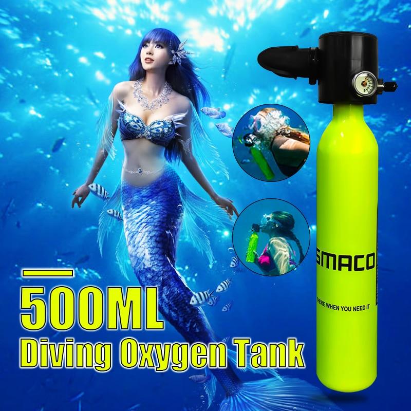 0.5L 34 cm Potable matériel de plongée Mini Plongée sous-marine Cylindre Plongée sous-marine réservoir d'oxygène