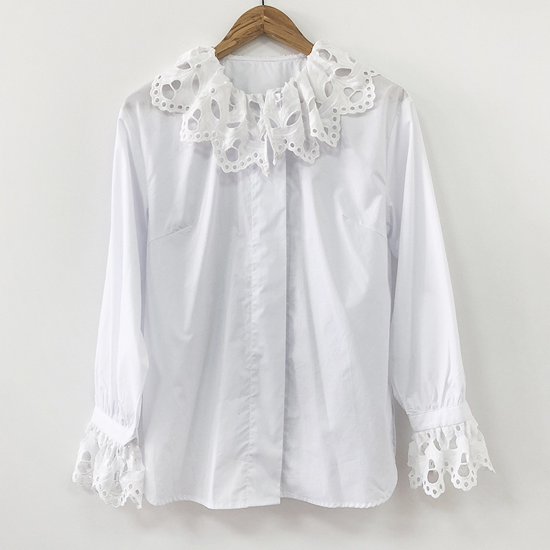 women hollow out lace shirt 2019 new sexy deep V neck seventh sleeve lace embroidery elastic waist 100% cotton short blouse - 3