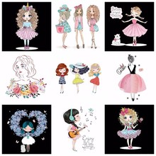 Pulaqi Kawaii Princess Ironing Patches for Parent-child DIY Heat Transfer On Clothes Cartoon Girl Patch Washable Appliques H