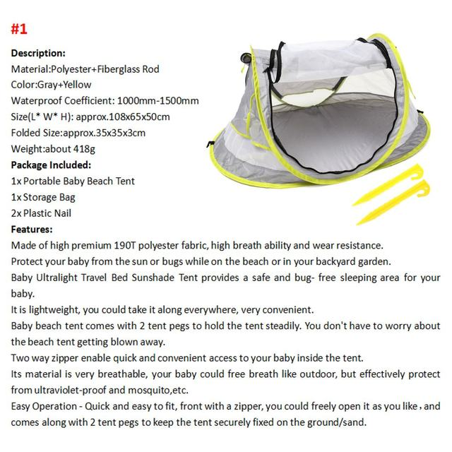 Baby Travel Bed Toy Tent Portable Baby Beach Tent UPF 50+ Sun Shelter Folding Outdoor Chid Travel Bed Mosquito Net Toy New 5