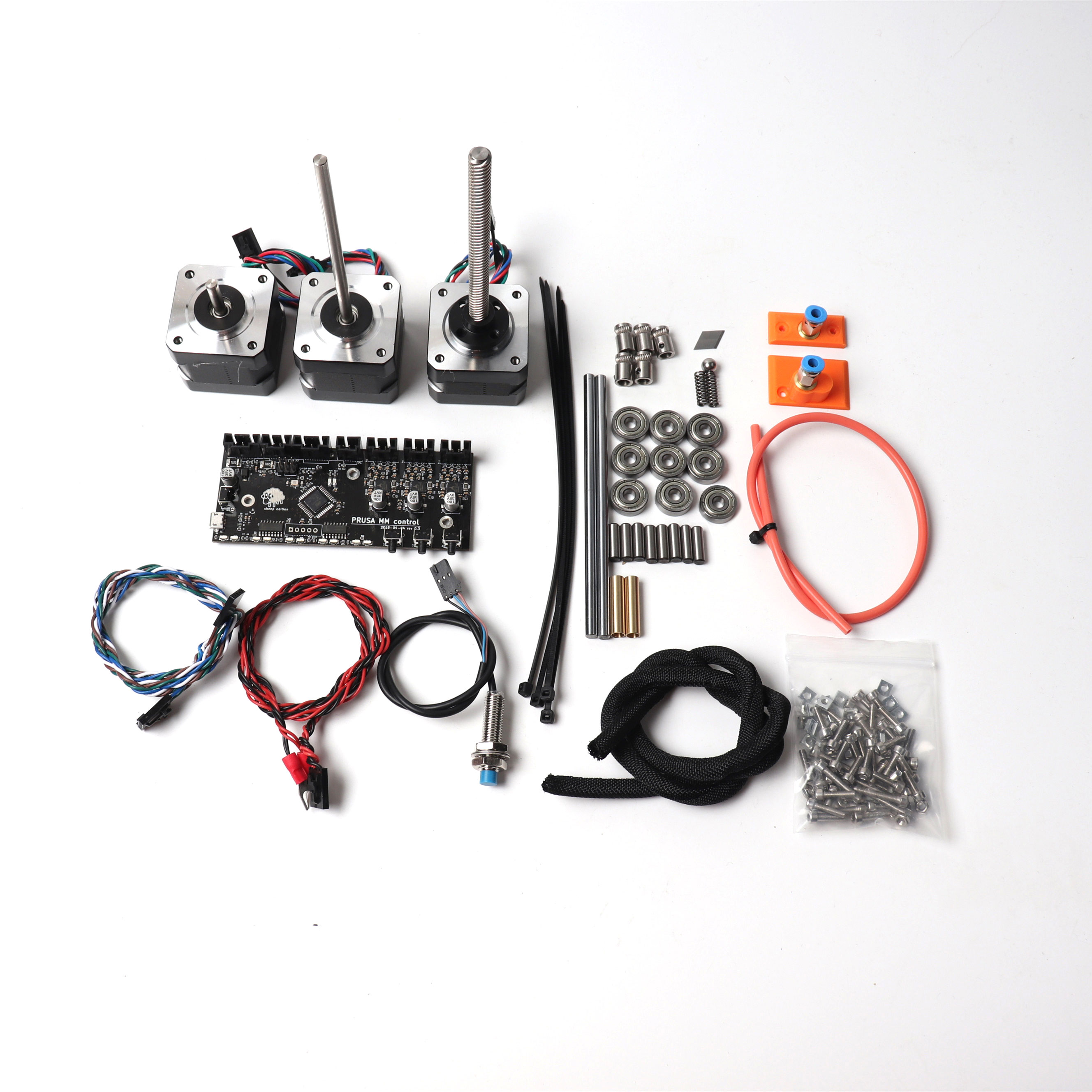 Kit Multi matériaux Prusa i3 MK2.5/MK3 MMU V2, carte de commande, kit moteurs, sonde FINDA, câbles d'alimentation et de signal, tiges lisses