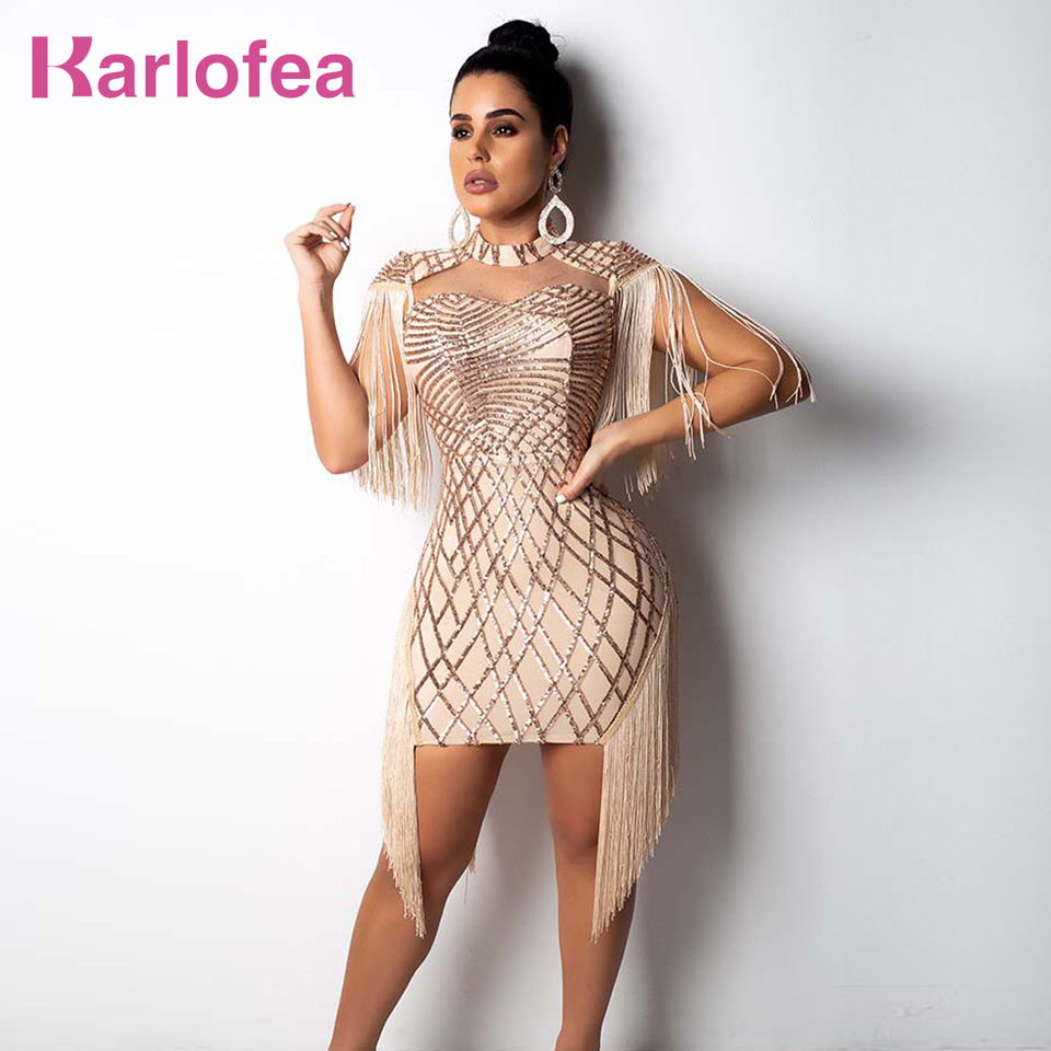 Karlofea New Tassel Cloak Sleeve Party <font><b>Dress</b></font> <font><b>Sexy</b></font> Hollow Out Sequin Bodycon Mini <font><b>Dress</b></font> <font><b>Gold</b></font> Club Birthday Fringe Women <font><b>Dresses</b></font> image