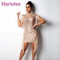 Karlofea New Tassel Cloak Sleeve Party Dress Sexy Hollow Out Sequin Bodycon Mini Dress Gold Club Birthday Fringe Women Dresses