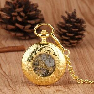 Image 4 - Luxury Gold Mechanical Pocket Watch Exquisite Design Hand Wind Pendant Watch Fob Pocket Chain for Men Women reloj de bolsillo