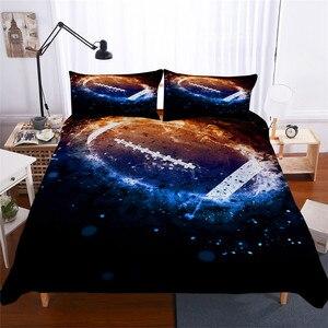 Image 1 - Комплект постельного белья с 3D принтом, пододеяльник, Комплект постельного белья, футбол, домашний текстиль для взрослых, реалистичное постельное белье с наволочкой # GLQ02