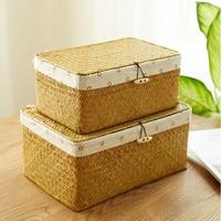 Handmade Rattan Storage Box Container Desktop Sundries Organizer Straw Wicker Basket With Lid Liner Bathroom Chest Square