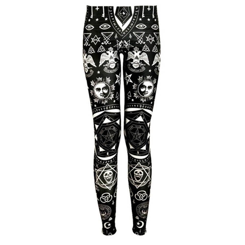 Leggings   Women Autumn Thin Goth Fashion Skull Star Print Soft Workout Fitness Sweatpants Stretch Breathable Slim Casual   Leggings