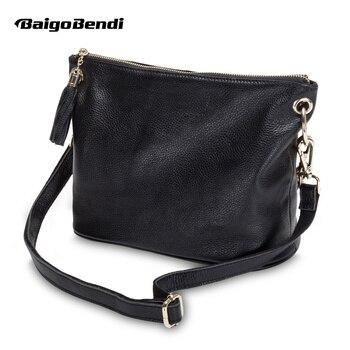 Soft Genuine Leather Crossbody Bag Woman Black Hight End Soft Leather Messenger Bag Ladies Chain Casual Handbag