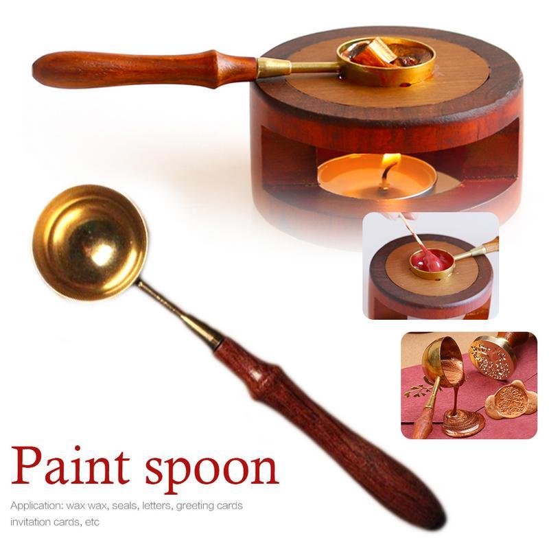 Vintage Wood Handle Spoon Anti-hot Stamp Seal Sealing Wax Brass Spoon Gold