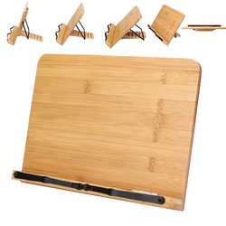 Suporte de livro ajustável portátil bandeja e página clipes de papel-livro de receitas mesa de leitura resistente estante-livros de livros leve estante