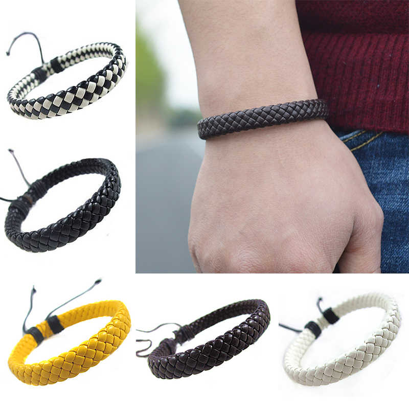 Cuff Rope Adjustable 1 piece Bracelet Multi-color Unisex  Surfer Leather Bangle Hand-woven Men Fashion Simple
