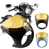 7'' Universal Decorative Protective Cafe Racer Handlebar Headlight Windshield Fairing Screen Lamp Kit Fit For Harley For Suzuki