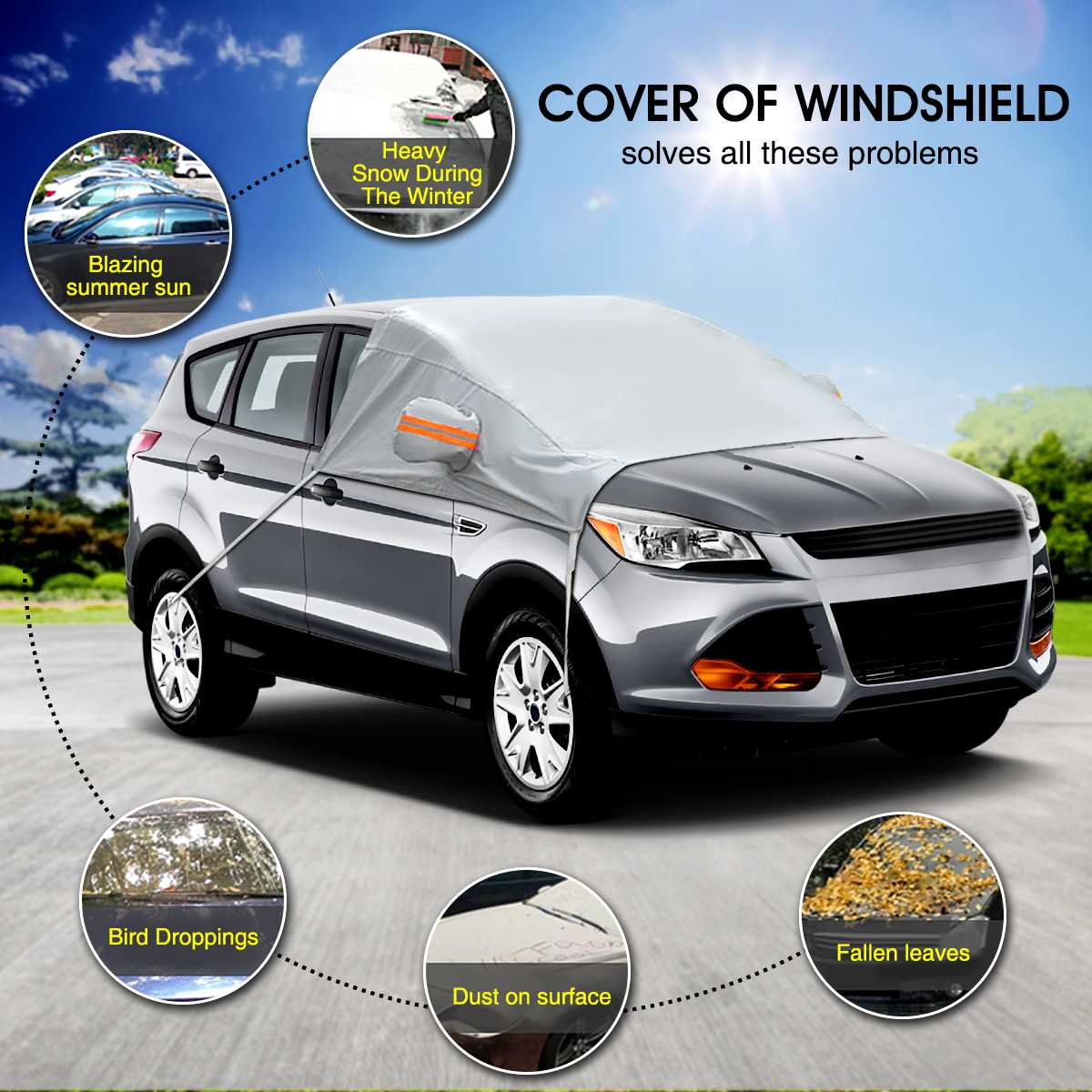 Car Windscreen Cover with Mirrors Snow Cover Winter Car Windshield Cover Sun Shade Protector L XL for Van SUVs Trucks RVs