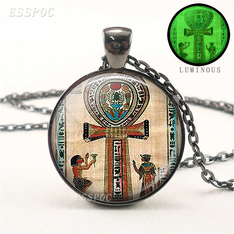 Ancient Egyptian Ankh Glass Cabochon Pendant Necklace Glow In The Dark Jewelry Silver Long Chain Necklace Women Gifts
