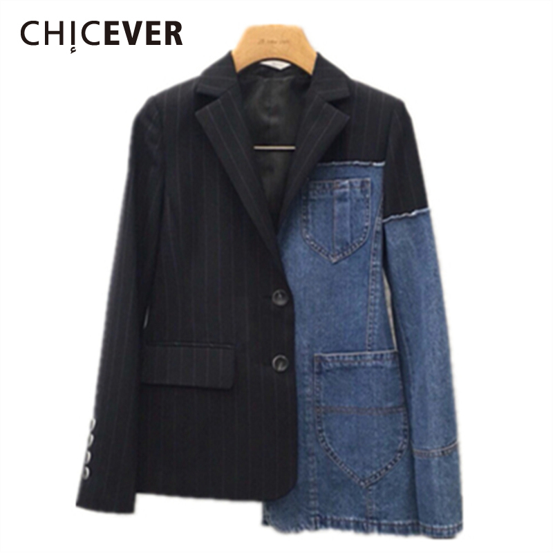 CHICEVER 2019 Spring Blazer For Women Female Coats Patchwork Denim Long Sleeve Plus Size Short Coats Clothes Fashion Casual New