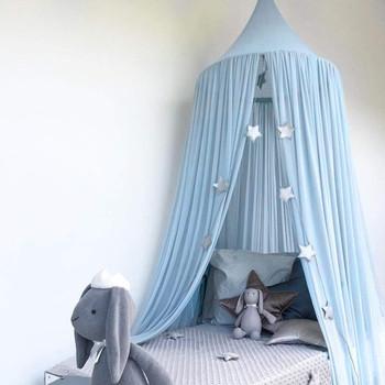 5 kolorów wiszące dzieci pościel dla dzieci Dome baldachim do łóżka księżniczka bawełna moskitiera narzuta na łóżko kurtyna dla dziecka dekoracja pokoju dziecięcego tanie i dobre opinie Jednodrzwiowe Owadobójczy traktowane Domu Wisiał dome moskitiera Bed Canopy circular cotton and linen bed canopy princess