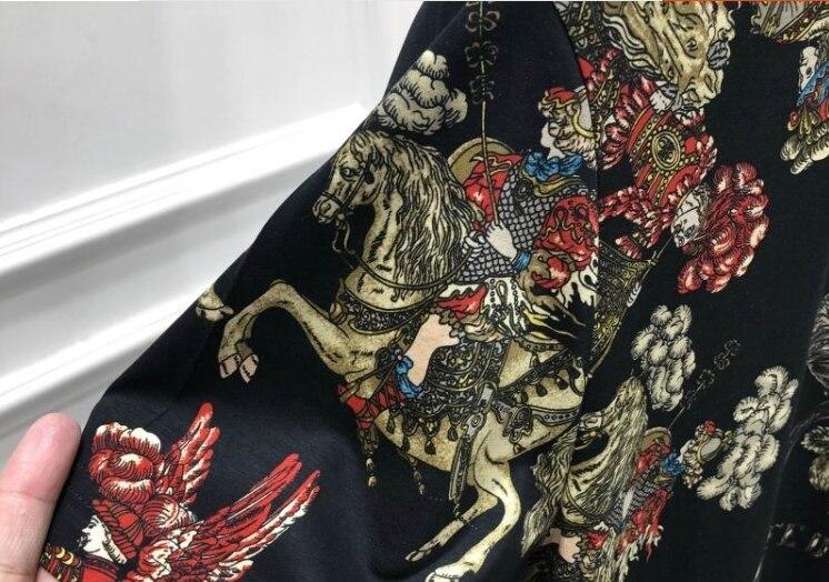 2019 Primavera 19ss di Nuovo Modo Magliette Fiore Floreale Cavaliere Corona di Stampa Tee T Shirt Per Gli Uomini di Cotone Famoso Marchio di Abbigliamento top Retro - 3