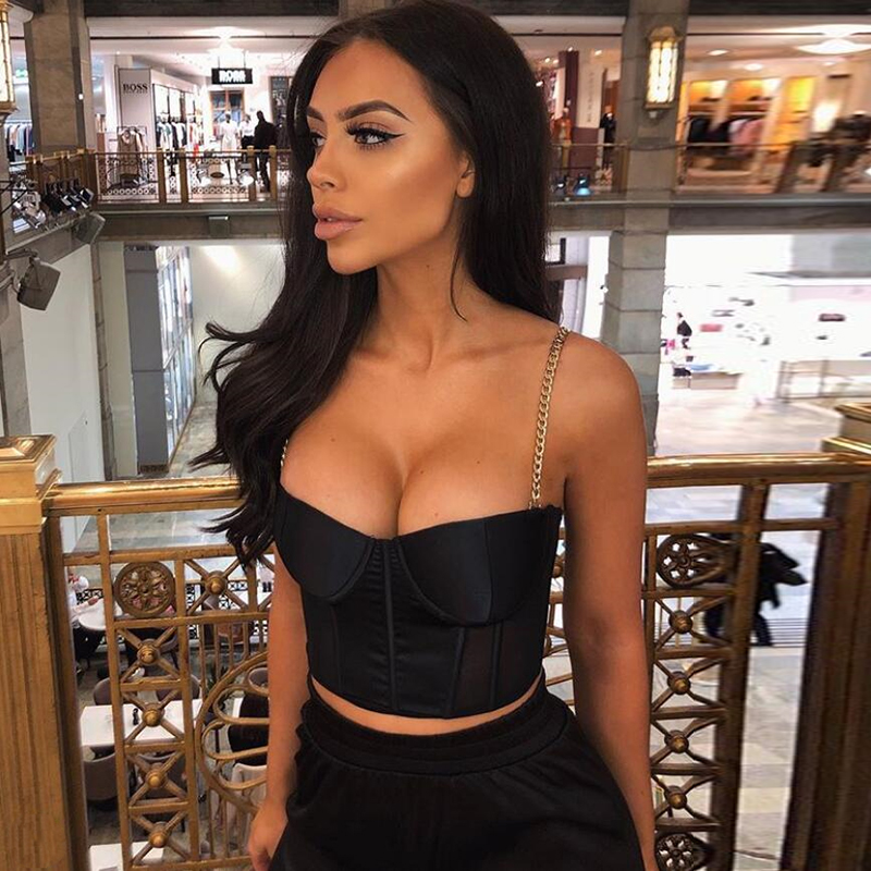 NewAsia Sexy Bustier Crop Top Women Clothing 2019 Summer Fashion Chain Strap Padded Satin Cropped Black Festival Top Streetwear