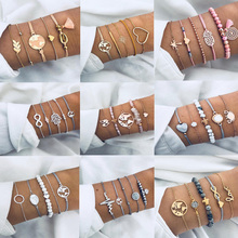 цена Fashion Bohemia Crystal Beads Charm Bracelets Set for Woman Golden Map Turtle Pink Cuff Chain Bracelet Female Party Jewelry Gift онлайн в 2017 году