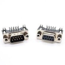 Pcb-Connector 90-Degree Db9 Female 9-Pin DR9 RS232 10PCS Bent-Needle D-Sub