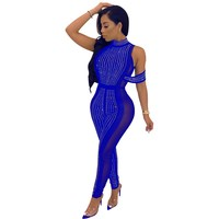 Women Sexy Rhinestones Diamonds Jumpsuits Solid Sequin Mesh Patchwork See Though Bodycon Skinny Jumpsuits Party Club Rompers