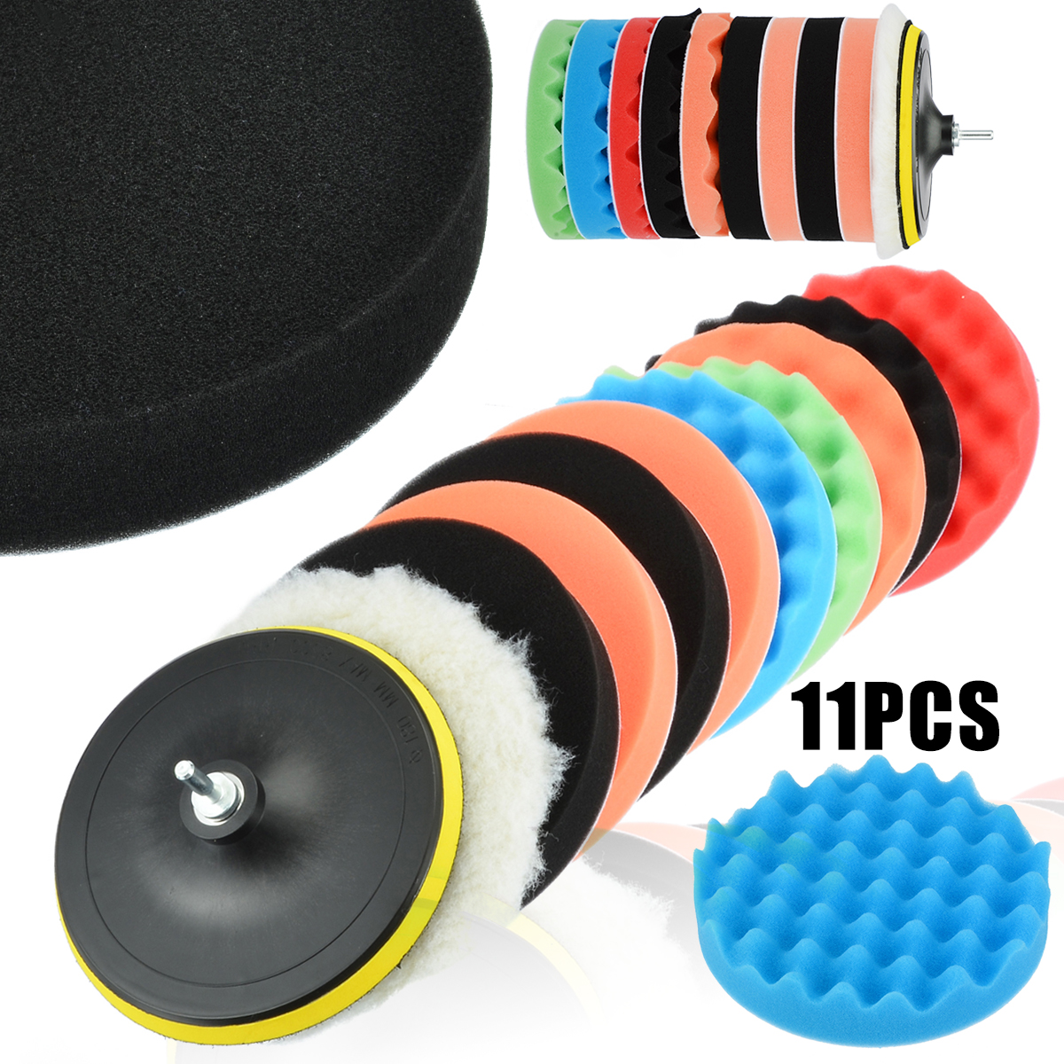 11pcs 7 quot Polishing Pad Waxing Buffing Polishing Sponge Pads Drill Adapter Kit For Auto Car Polisher Maintenance Mayitr in Polishing Pads from Tools
