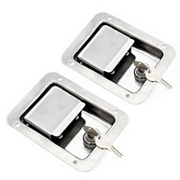 Hardware 2 Pack Stainless Steel Paddle Slam Latch With Lock & Key Flush Single Point Handle For Door Trailer RV Jeep
