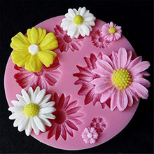 3D DIY Flower Silicone Cake Mold 6 Fondant Decorating Candy Chocolate Sugarcraft Ice Pastry Baking Tool Mould