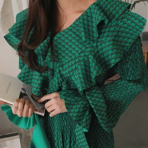 Image 5 - CHICEVER Summer Vintage Print Green Long Dresses For Women Flare Sleeve Ruffles High Waist Pleated Dress 2020 Fashion Tide