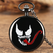 Marvel Series Pocket Watch for Men Venom Theme Quartz Pocket Watches for Boys Fashion Black Pendant Necklace Chain for Teens new arrival hot uk tv doctor who theme series fashion quartz pocket watch chain necklace pendant watches dr who fans gift 2017