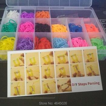 1500 шт резинки ткацкий станок DIY инструмент для плетения коробка ручной работы эластичные силиконовые плетеный браслет комплект Детские игр...