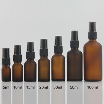 20ml matte brown/amber glass perfume bottle with black mist sprayer,  empty 20ml perfume atomizer bottle container wholesale