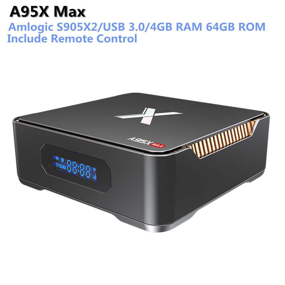 A95X Max Android 8.1 Smart TV Box Amlogic S905X2 4GB 64GB 1000Mbps USB 3.0 Set Top Box Bluetooth 4.2 Media Player Support 4KA95X Max Android 8.1 Smart TV Box Amlogic S905X2 4GB 64GB 1000Mbps USB 3.0 Set Top Box Bluetooth 4.2 Media Player Support 4K