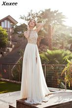 2018 New Arrival Sleeveless Halter Court Train Sexy Neck Hanging Dew Back Small Full Dresses A-line Longuette Dress As Pictures