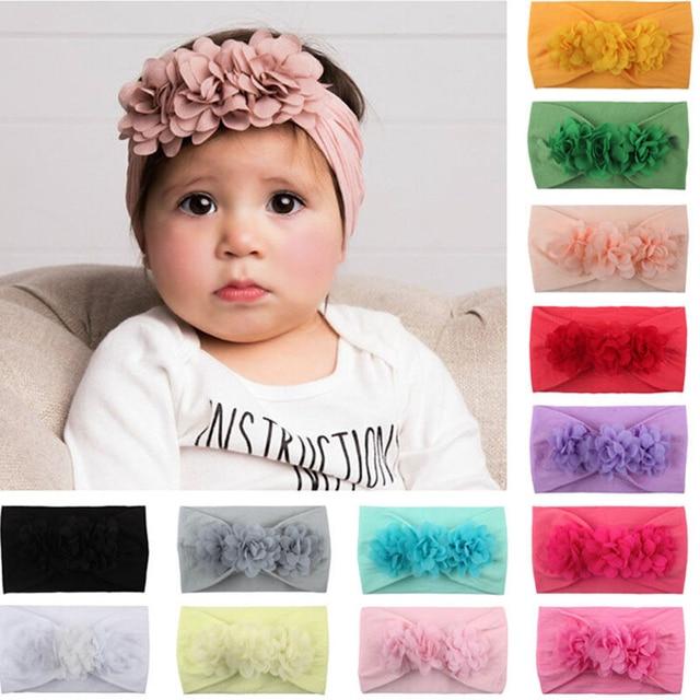 43aae69b1646 Baby Girl Headbands 3D Flower Kids Toddler Bow Hairband Headband Big Floral  Elastic Hair Bands Head Wrap Baby Hair Accessories