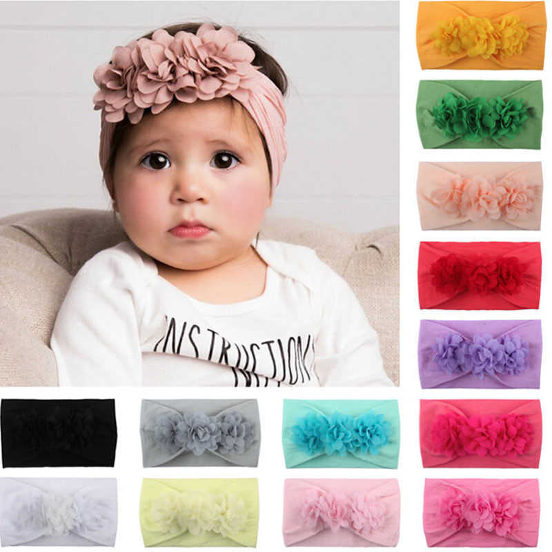 6e66a716b6860 Baby Girl Headbands 3D Flower Kids Toddler Bow Hairband Headband Big Floral  Elastic Hair Bands Head Wrap Baby Hair Accessories