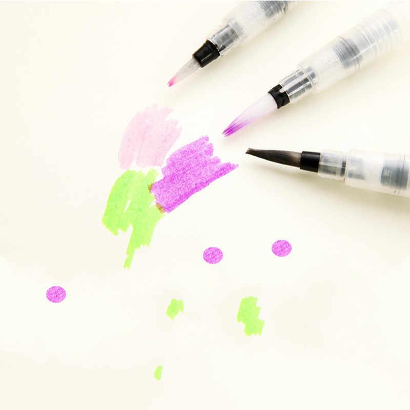 1/3/6 Pcs Isi Ulang Kuas Cat Air Warna Sikat Lembut Cat Air Sikat Tinta Pena untuk Lukisan Calligraph menggambar Perlengkapan