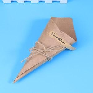 Image 4 - 50/100 stücke DIY Kraft Papier Kegel Candy Boxen Roman Kreative Eis Blume Halter Kraft Papier für Hochzeit party Geschenke Crafting