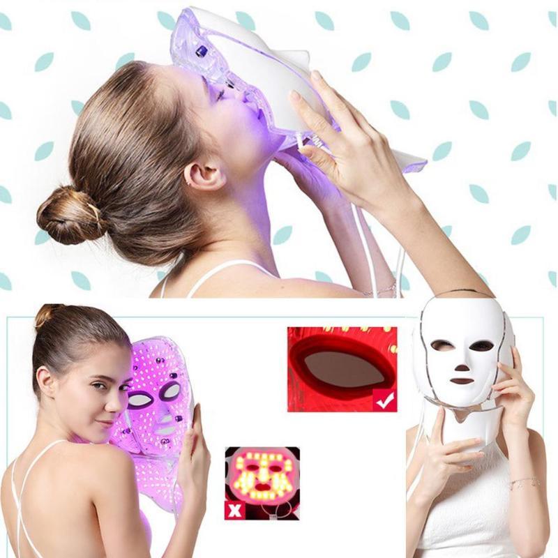 Elektrische FÜHRTE Gesichts Maske 7 Farben Photon mit Hals Haut Verjüngung Anti Akne Falten Schönheit Behandlung Salon Heimgebrauch-in Elektrische Gesichtsreinigungsgeräte aus Haushaltsgeräte bei  Gruppe 2
