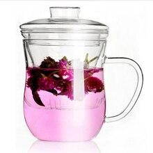 Лидер продаж-прозрачное бесцветное стекло молока кружка кофейная чайная чашка чайник с чайным впрыскивателем фильтр& крышкой дома офисная кружка