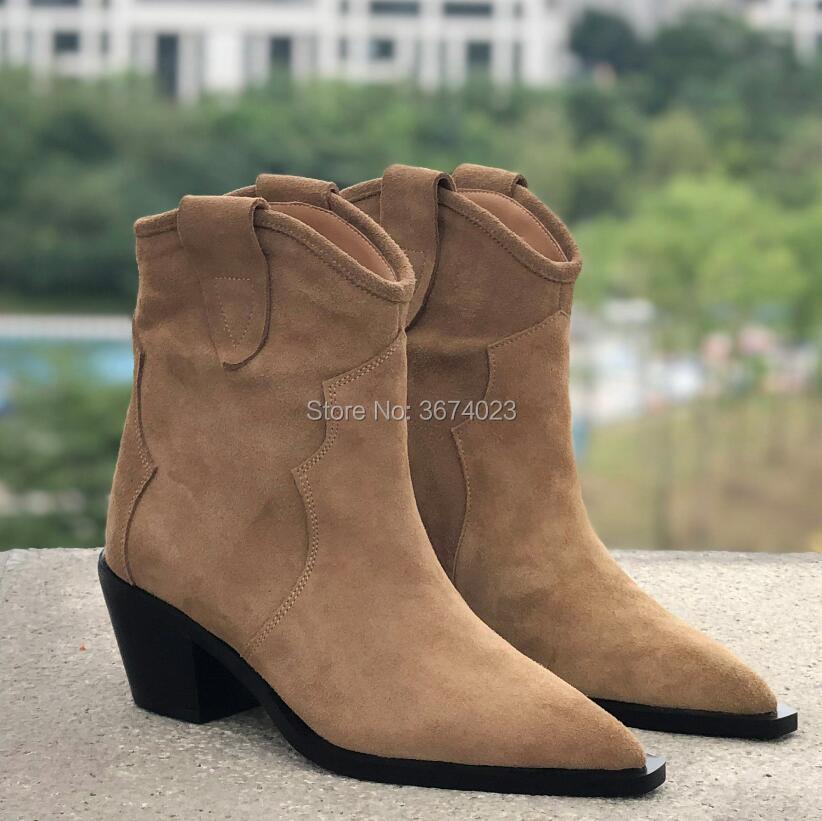 Qianruiti 2018 invierno de cuero botas de mujer Tan negro tobillo botas bloque bajo talones señaló Toe botas de vaquero zapatos mujer-in Botas hasta el tobillo from zapatos    3