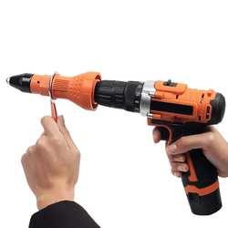 Шт. 3 шт. Электрический заклепки пистолет заклепочный инструмент беспроводные клепки адаптер для сверла вставить гайка инструмент клепки