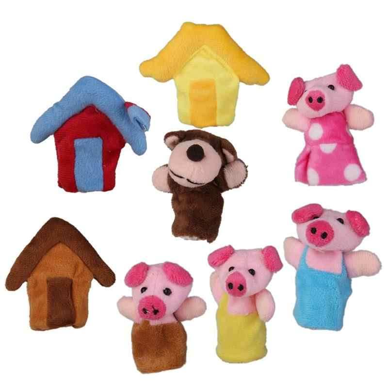 8 Pcs Set Animal Hand Finger Puppets Children Doll Three Little Pigs Fairy Tale Storytelling Props 3 Pigs With 3 House And Wolf