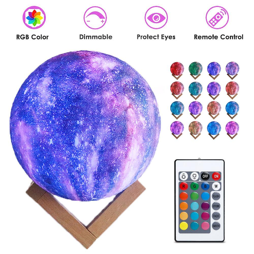 Led Lamps Remote Control 16 Colors Star 3d Moon Lamp Led Night Light Luminaria For Party Pub Concert Usb Charging Painted Moon Lamp Led Night Lights