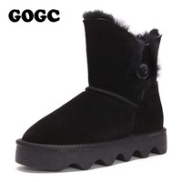 GOGC Fur Genuine Leather Women Winter Boots Wool Women Boots Platform Waterproof Snow Boots for Women 2019 Female Shoe G9721
